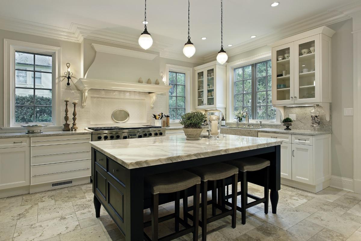 marmeren keuken wit